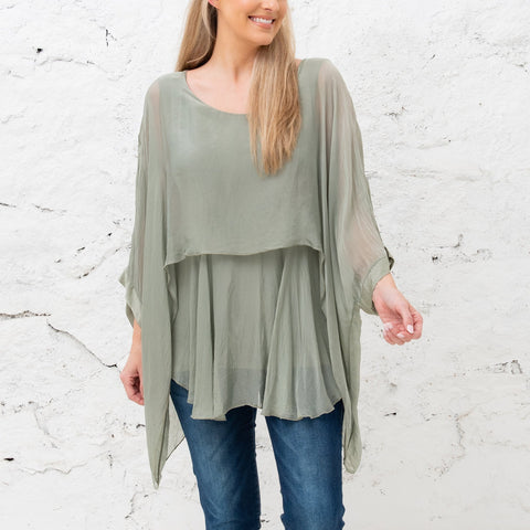Katerina - Sage Two Layer Silk Top (Featured in Oprah's Magazine)