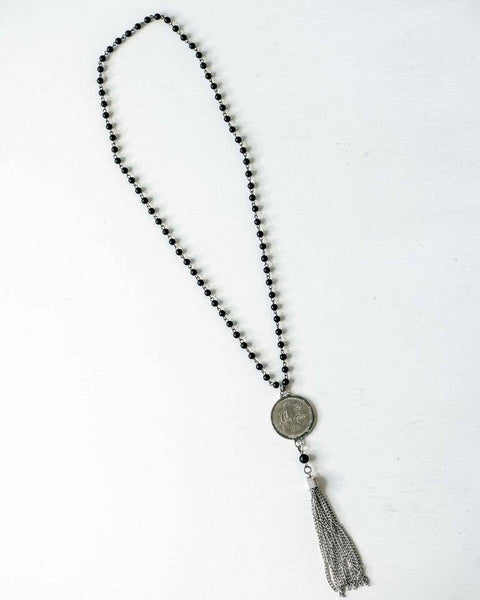 Onyx and Coin Tassel Necklace