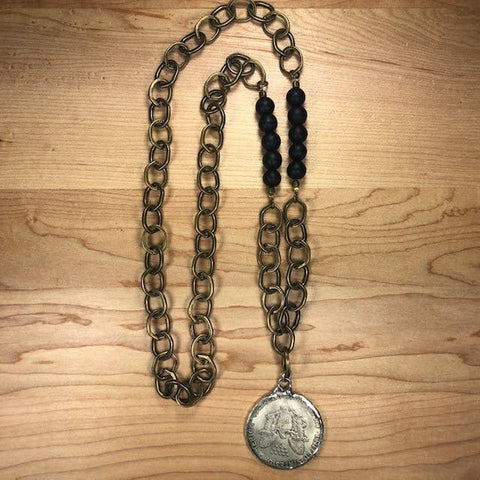 Onyx & Antique-Brass Elizabeth Coin Pendant Necklace