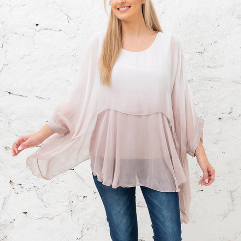 Katerina - Rose Gradient Two Layer Silk Top (Featured in Oprah's Magazine)