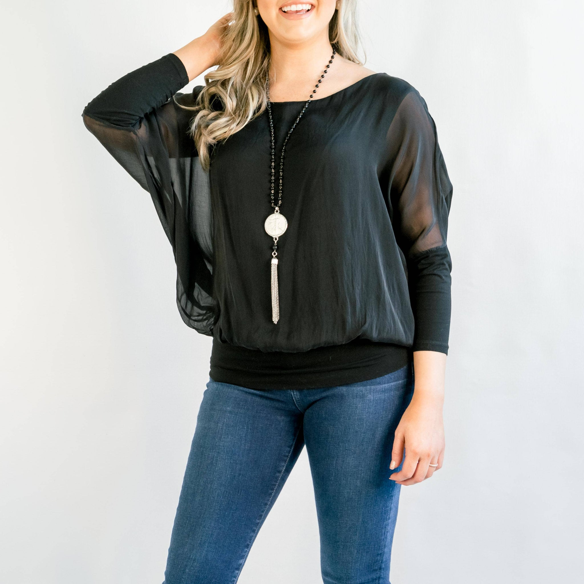 Cassandra Black Silk Top