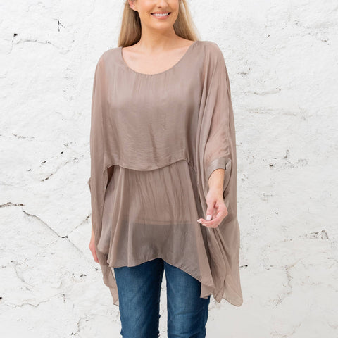 Katerina - Taupe Two Layer Silk Top (Featured in Oprah's Magazine)