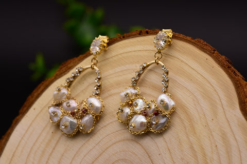 Handmade Fresh Water Baroque Pearl Drop Earrings