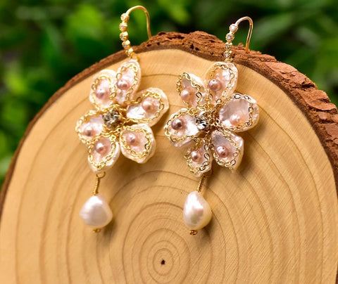 Handmade Fresh Water Pearl Flower Earrings
