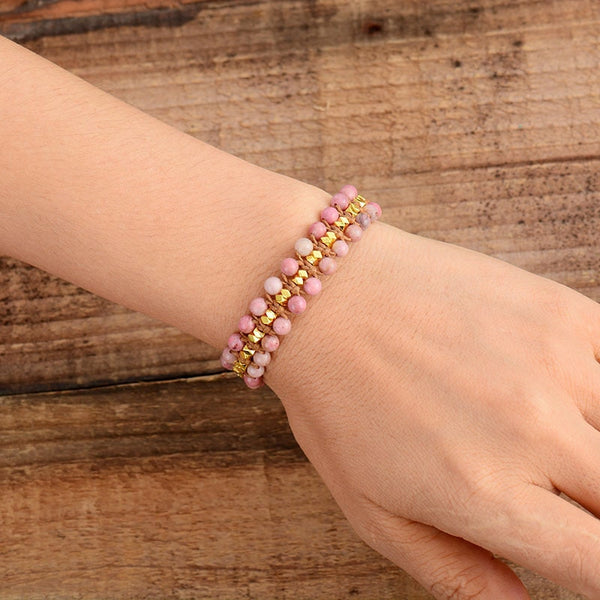 Handmade Unique Rhodonite Gold Beads Bracelet