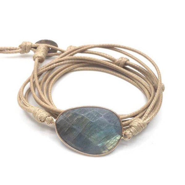 Handmade Labradorite Leather Bracelet