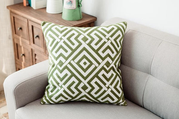 Shades of Green - Embroidery Cushion Covers 18x18 in