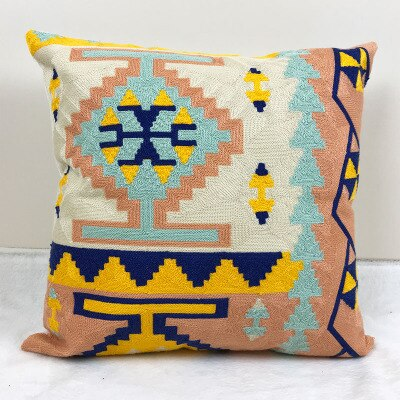 Color Splash - Aztec Kilim Style Embroidery Cushion Covers 18x18 in