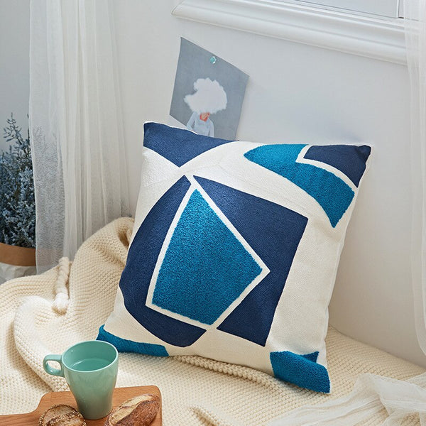 Abstract Collection - Blue Embroidery Cushion Cover 18x18 in