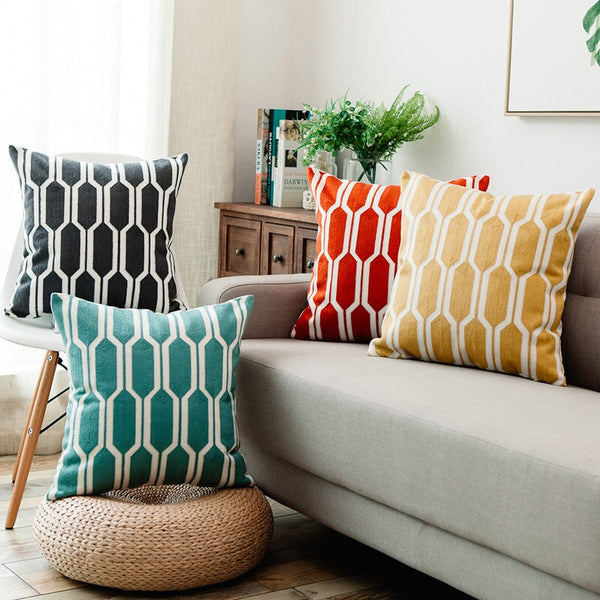 Color Splash - Embroidery Geometric Circles Cushion Cover 18x18 in