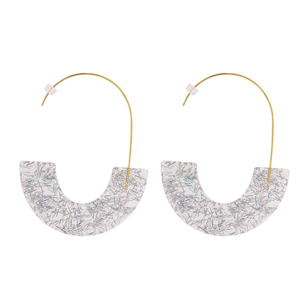 Gray  Acetate Sequin Fashion Earrings