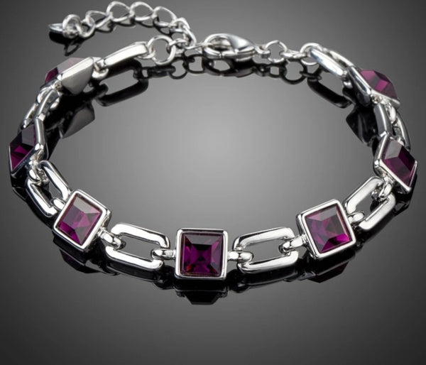 Purple Square Austrian Crystals Bracelet