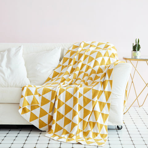 100% Cotton Geometric Knitted Throw