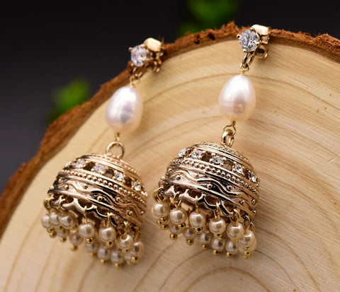 Handmade Fresh Water Pearl Jhumka Earrings