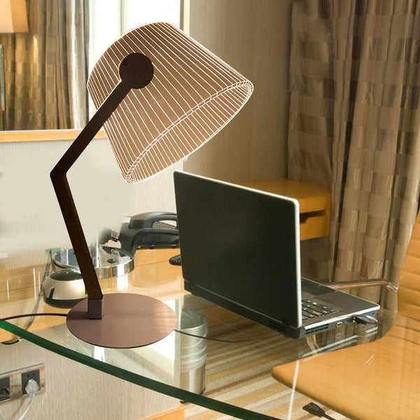Bamboo Wooden 3D Effect Stereo Vision LED Desk Lamp With USB Plug