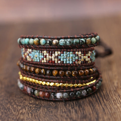 Handmade Genuine Leather Weaving Wrap Bracelet