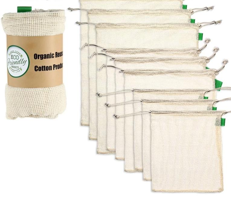 9pcs/set Premium Organic Cotton Mesh Produce Bags