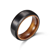 Black Tungsten Ring Matte Finish with Wood Sleeve 8mm