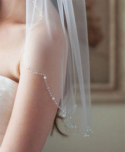 Wedding Veil with Beaded Edge
