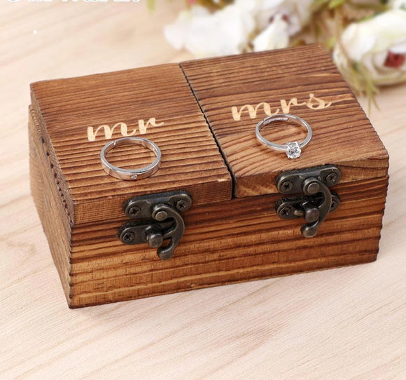 Wooden Engraved Ring Boxes with Burlap