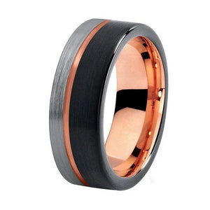 Tungsten  Wedding Band Brushed Finish with Comfort  fit 8mm Rose Gold,  Black, Blue