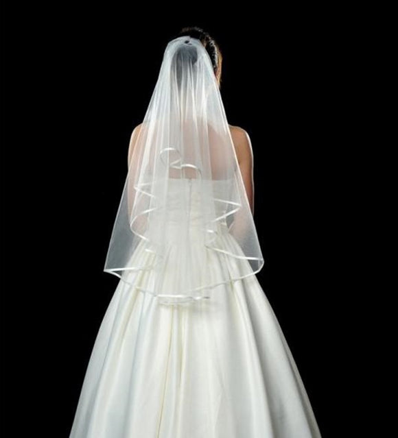 Ribbon Edge Tulle Short Bridal Veil with  2 Layers
