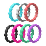 Silicone Ring Sets . Wave Pattern Wedding Bands
