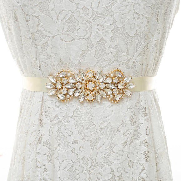 Rhinestones & Crystal  Gold Wedding Belt
