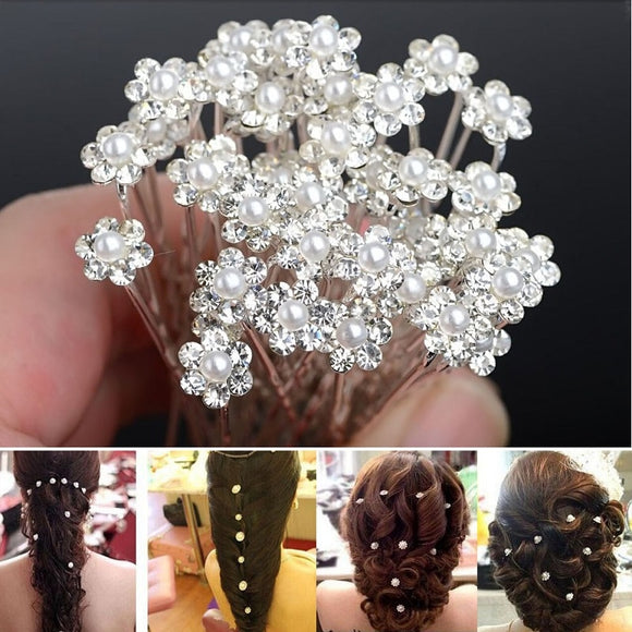 20 Pcs  Crystal Pearl Wedding Hair Pins