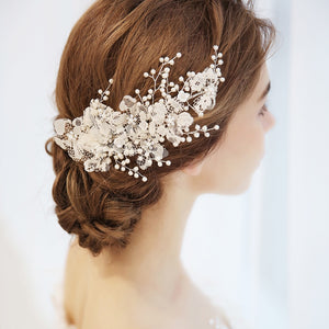 Bridal Pearl Lace Flower Side Hair Clip