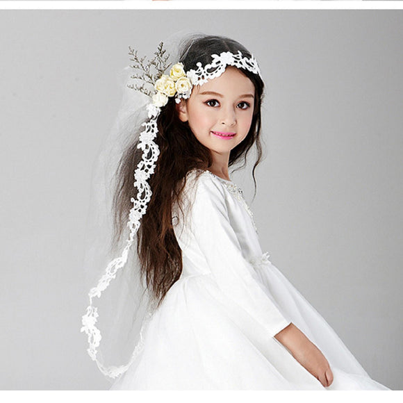 White Flower Girl  Hair Comb with Long Veil