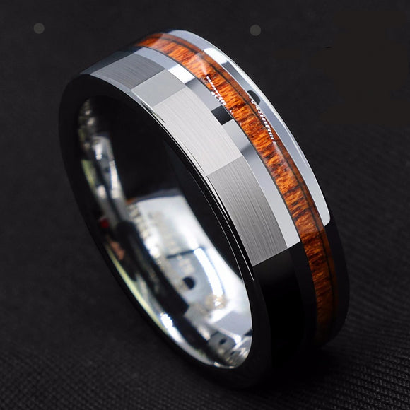 8mm Silver Brushed Tungsten Carbide Off Center Koa Wood Wedding Ring