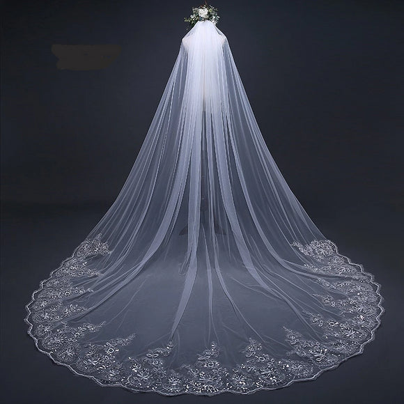 Cathedral Wedding Veil Long Lace Edge available in 2 colors