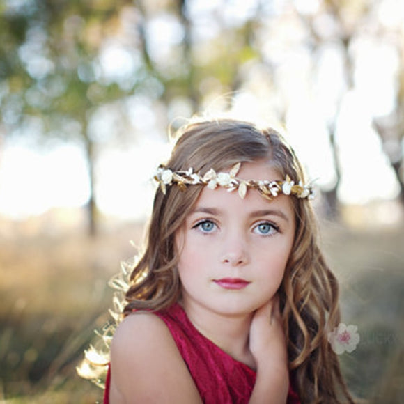 Girls Elastic Crown Gold Leaves Flower Headband