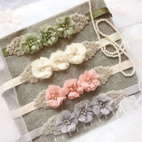 Elegant Three Flower Sash Rhinestone Beaded Belt 12 Color