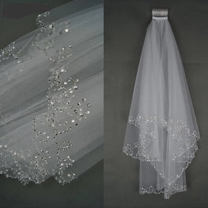 Short Wedding Veil with Crystal Edge and Comb