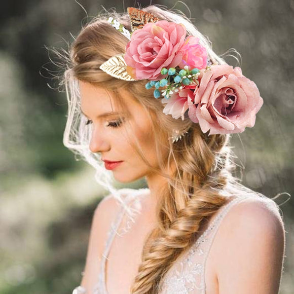 Floral Rose Flower Headband