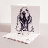Basset hound drawing  art card