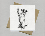 """Balancing Act"" Terrier Fine art card"