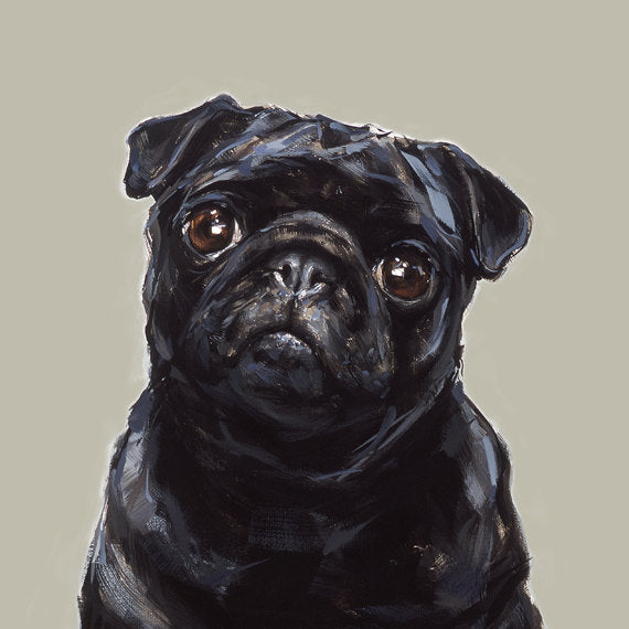 Modern dog art print of a black pug painting for Dog painting artist