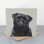Black Pug Fine art card