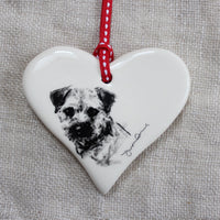 Border Terrier portrait Heart