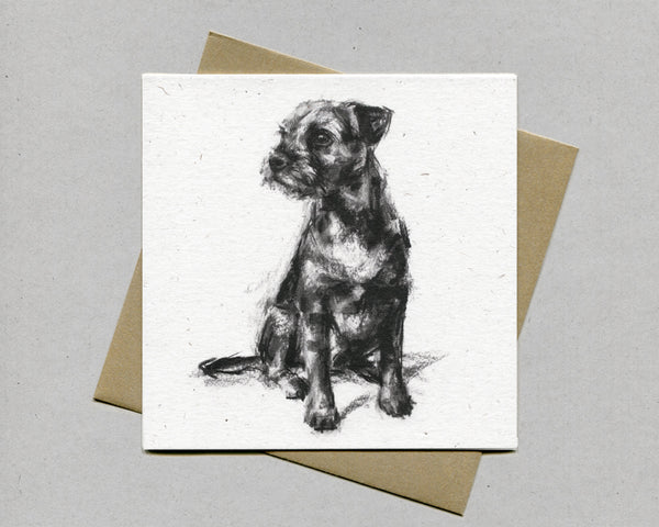 Border Terrier Sitting Fine art card