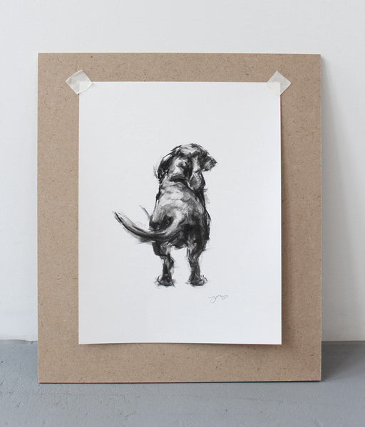 SOLD - Dachshund Wagging Charcoal sketch ORIGINAL