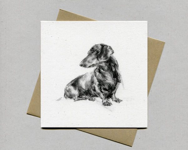"Dachshund ""Daxi Turning"" Fine art card"