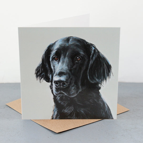 Flat-Coated Retriever Fine art card