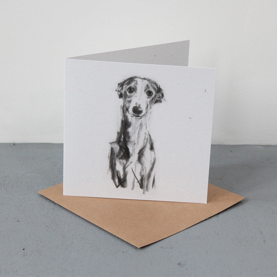 """Whippet Portrait""  Fine art card"