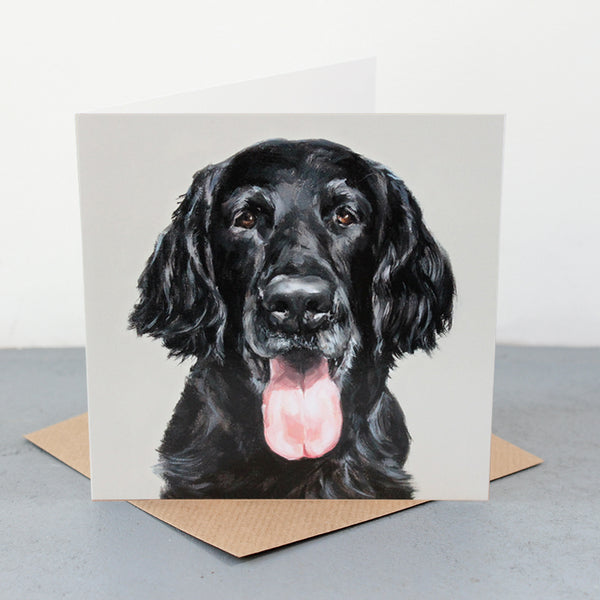 Happy Flat-Coat Fine art card