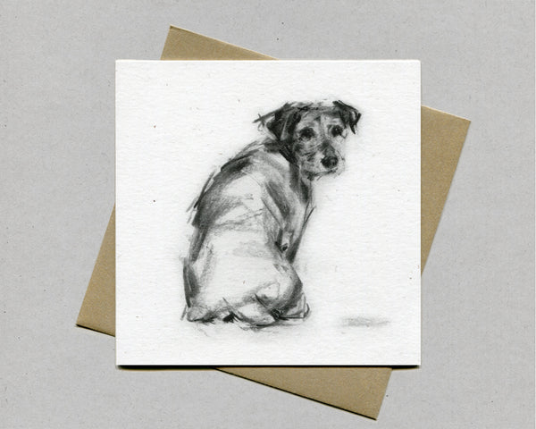 """Over my Shoulder"" Terrier Fine art card"
