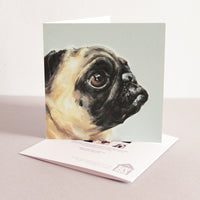 Tan Pug Fine art card